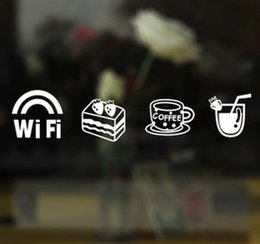Wholesale Wifi Cake Coffee Drinks Mark Kitchen Mirror Wall Sticker Home Decoration Pub Restaurant Coffee Shop DIY Pegatinas