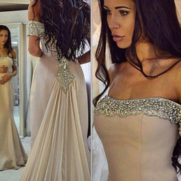 Long Formal Evening Gowns Prom Party Dresses Mermaid Off Shoulder Beaded Crystals Strapless Celebrity Red Carpet Gowns with Train