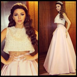 Wholesale 2015 Beautiful Myriam Fares Celebrity Dresses Vestidos De Festa Pieces Prom Dress Arab Red Carpet Gown Sheer Jewel Neck