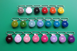 Wholesale Suspenders Plastic Clips - Free Shipping 100pcs 25MM Enamel Round Metal Suspender Clips Pacifier Mitten Fabric Dummy Clips,Mix 21 Colors,With Plastic Teeth