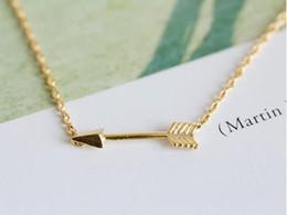 10PCS- N010 Gold Silver Tiny Horizontal Arrow Necklace Pendant for Women Simple Cute Sideways Arrow Necklace for Men
