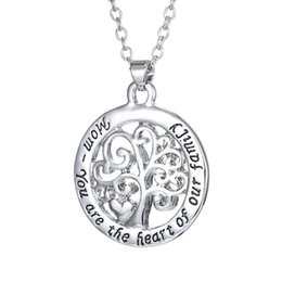 Wholesale 2016 Hot Mom You Are The Heart Of Our Family family Tree Of Life Chain Necklace Fashion Pendant Necklaces N004