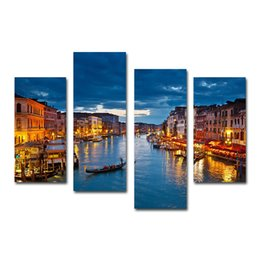 4 Pcs Venice City Buildings Scenery Canvas Printing Modern Wall Hangings for Living Room Bedroom Decoration