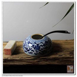 Wholesale E Hand Painted Ceramic Porcelain Water Jar Pottery CM Blue and White Chinese Porcelain Water Pot Four Treasures of the Study
