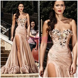 Wholesale Rami Salamoun Side High Slit Mermaid Evening Dresses for Arabic Formal Women Celebrity Occasion Sale Cheap Fashionable Long Prom Party Gown