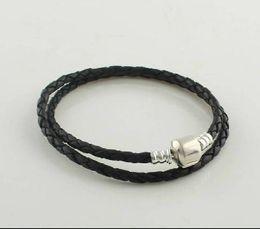 Wholesale Leather Pandora Long Bracelet with Clasp DIY Jewelry Fit For Pandora Charm Bracelet Sterling Silver clasp lether bracelets