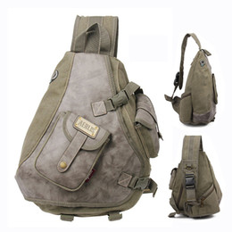 Wholesale-Multi-pockets canvas and leather men sling bag backpack Cool mens bags