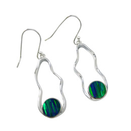 Exquisite silver earrings with magic brilliance Japanese opal gemstone Pure Handmade unadjustable sterling silver dangle earrings for E979.