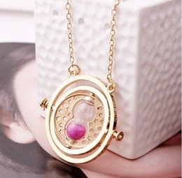 Wholesale 200pcs Hot Sale Time Turner Necklace Fashion Hermione Granger Rotating Spins Gold Hourglass Pendant Necklaces