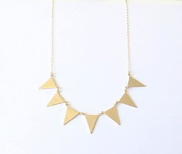 30PCS Gold Silver Bunting Necklace Simple Spike Arrow Necklace European Little Multiple Flags Necklace Triangles Necklaces