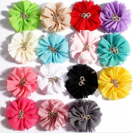 Chiffon Flowers With Metal BOW Drill For DIY headband Hairclips shoes ornament Women Side Clip DIY Baby Girl Clothing Hair Accessories