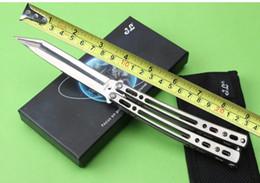 Wholesale 201512 JL butterfly knives BM balisong Cr13Mo HRC mirror surface steel handle Tanto point BM folding fan knife B659J