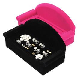 Wholesale Sofa Earring - New Earring Ring Jewelry Display Unique Sofa Design Velvet Black Rose Red Organizer Box Tray Holder Case For Christmas Gift