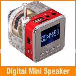 Wholesale Nizhi TT LED Crystal Mini Speaker Portable Speakers FM TF U Disk LCD Display Subwoofer for iPhone Plus S MP4 MP3 Music Player OM CB5
