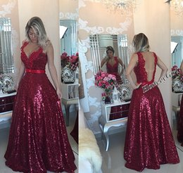 Burgundy Sequins Evening Dresses V neck Lace Appliques A line Backless Bling Fommal Party Prom Gowns Cstom made