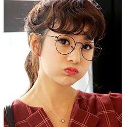 Wholesale 2016 Classic Retro Metal Big Frame Glasses Artistic Style Harajuku Round Frame Plain Glasses eyeglasses frames men