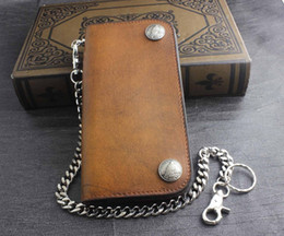 Mens Biker Rock Tow US Eagle Coin Snap Long Leather Wallet Purse With Key Chain