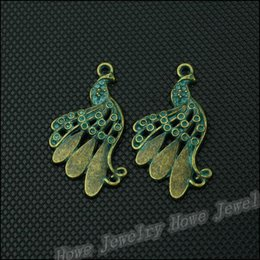 Wholesale 35 High quality Antique Moldy verdigris Peacock Pendant floating charm fit Bracelet Necklace jewelry Making metal love charm