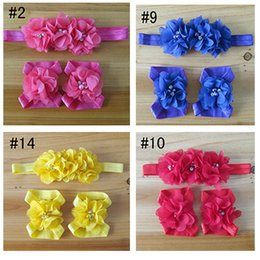 Wholesale Free ship Children beautiful Sew water drill chiffon flower hair band baby foot flower wrist flower