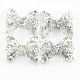 Wholesale-100pcs 3D Silver Glitter Kawaii Resin Bow for Nail Art Decoration DIY Decoration SKU D0583X
