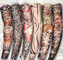 6 X Hot Sale Style Temporary Fake Slip On Tattoo Arm Sleeves Kit Colletion Halloween