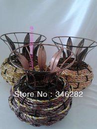 Wholesale rattan iron flower series of antique home balcony decoration basket vase for flower