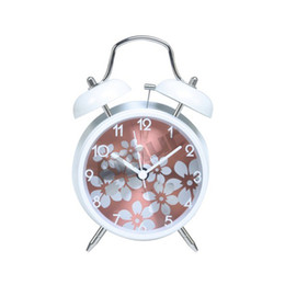 Wholesale Amur quot White Vintage Classic Twin Double Bell Desk Table Alarm Clock Night Light
