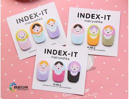 Wholesale 50sets Cute Fun Matryoshka Doll Sticker Post It Bookmark Marker Memo Flags Sticky Notes