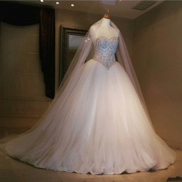 Real Image 2019 Wedding Dresses Ball Gown Luxury Embroidery Beaded Tulle Long Sweep Train Bridal Gowns