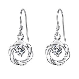 Wholesale 2015 hot sale fashion Sterling Silver silver round drop earrings with cz crystal for birthday gift g AZ
