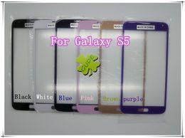Écrans pourpres à vendre-Pour Samsung Galaxy S5 9008 G9008 Faceplates Avant Outer écran tactile numériseur lentille Verre Noir Blanc Bleu Rose Marron Violet Par DHL EMS