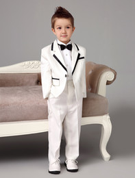 Wholesale Four Pieces white wedding ring bearer suits trend Boys Tuxedo With Black Bow Tie kids formal dress boys suits fashion kids suits