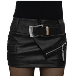 2016 New Stylish Fashion Sexy Women Zipper Pencil Leather Package Hip Black Trendy Skirt
