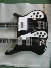 Wholesale ricken for backer double neck electric guitar string bass with string guitar in black color