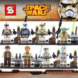 Star Wars Blocks Minifigures SY195 Star wars Minifigure Building Blocks With Star Wars Lightsaber Qui-Gon Jinn Darth Vader Yoda