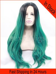 Wholesale In Stock Long Wig Body Wave Ombre Green Color Synthetic Lace Front Wig Heat Friendly Hair with Baby Hairs As the Picture Show