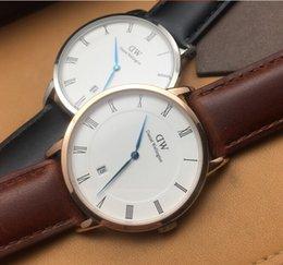 Wholesale Luxury Design Men Lady DW Gold Silver Calendar Wristwatch Formal Business Dress Suit Wear Fashion Genuine Leather Auto Date Quartz Watches
