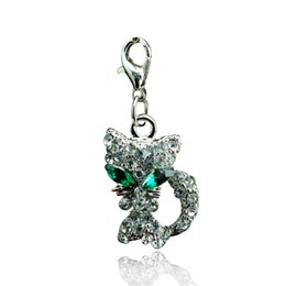 Wholesale New arrival Floating Charm Stainless Steel Lobster Clasp Pendants Rhinestone Green eyed Cat Keychain Jewelry DIY