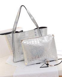 Wholesale-Metal Color Women PU Leather Handbags Gold Silver Large Tote Shoulder Bags Fashion Lash Package Composite Bag for Female Bolsa