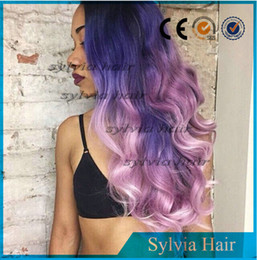 Wholesale new three black to dark blue purple ombre color black roots long body wave synthetic lace front wig heat resistant synthetic hair wig