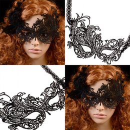 Wholesale Sexy Mask For Carnival - Sexy Lace Eye Carnival Masks Black Masquerade Ball Venetian Party Wear Half Face Masks Lady Women Anonymous masks Christmas Supplies MJ004