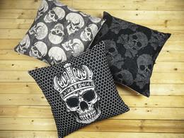 Skull pillow cover, Offbeat rock skeleton dark Gothic Punk Skull Tattoo crown cotton linen throw pillow cushion cover home decor