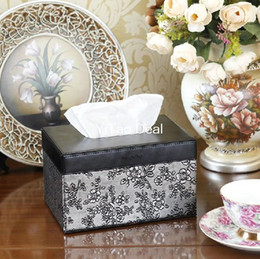 Wholesale PU Leather EU Style Antique Silver Pattern Lovely Napkin Box Tray Pumping Fashion Tissue Box holder