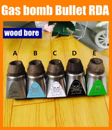 Wholesale Rebuildable Gas bomb Bullet RDA Atomizer With Colorful Tube Wood Bore dripper Adjustable Air Flow Clearomizer Mechanical Mod DHL free ATB356