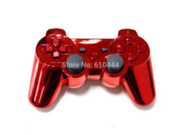 Wholesale Gold plated wireless bluetooth joystick game controller for PS3 freeshipping joystick for pc game control panel windows vista