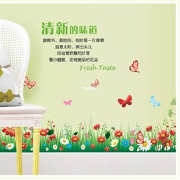 Wholesale Wall stickers home decoration AY7186 small fresh flowers plane wall stickers foot line attached bathroom glass doors and decorative texture