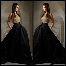 Wholesale Sexy Gold Elie Saab Evening Dresses Top Bodice Sequin and Black Halter Backless Formal Evening Gowns Hi Lo Train Prom Dresses
