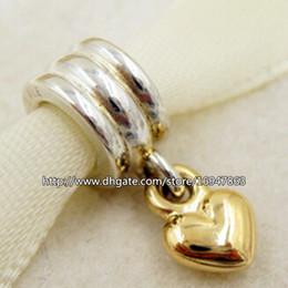 925 plata esterlina 14K corazón cuelga del encanto del grano adapta Europea Pandora joyas colgantes pulseras de los collares desde corazón del oro de la pulsera 925 fabricantes