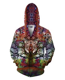 Wholesale Latest Trip Tree Print zip up Sweatshirt Hoodies Jersey Pullover Jacket Tops D Print Pocket Sweater teenagers colleges unversities hoodie
