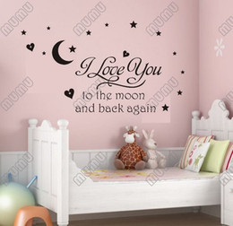 Wholesale i love you moon moon carved generation famous European and American Poetry English Proverbs Wall Stickers